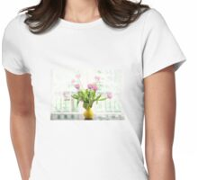 Pink Tulips In The Window Womens Fitted T-Shirt