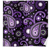 Violet and purple paisley Poster
