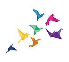 Origami Birds flying print Photographic Print