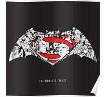 Batman Superman Illustration Dark Poster