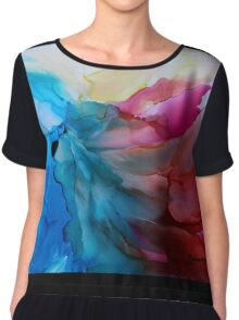 """""""In Bloom"""" - Colorful, Original Artist's Ink Painting! Chiffon Top"""