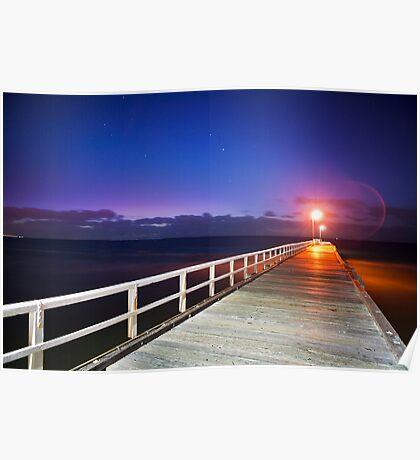 Sunset at Seaford Pier on the Mornington Peninsula Victoria Poster
