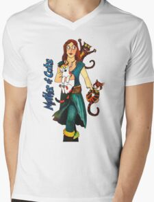 "Skyecatz: ""Mother of Cats"" Mens V-Neck T-Shirt"