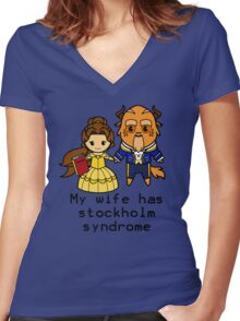 Happy Stolkholm Syndrome Women's Fitted V-Neck T-Shirt