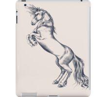 Rearing Horse in Dark Ink on Neutral iPad Case/Skin