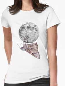 In which a moth is enticed by the light of the moon Womens Fitted T-Shirt