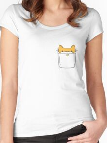 Pocket Cat - Orange Women's Fitted Scoop T-Shirt
