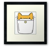 Pocket Cat - Orange Framed Print