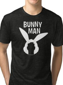 "Official ""Bunny Man"" Logo Tshirt in White Tri-blend T-Shirt"
