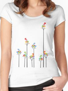 Colorful Tweet Birds On Dotted Trees With Dark Branches Women's Fitted Scoop T-Shirt
