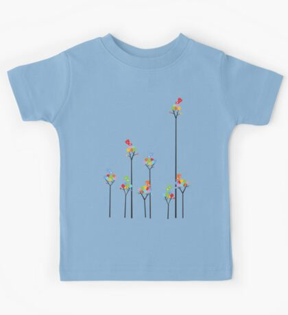 Colorful Tweet Birds On Dotted Trees With Dark Branches Kids Tee