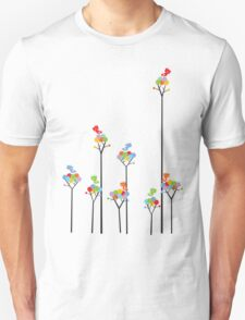 Colorful Tweet Birds On Dotted Trees With Dark Branches Unisex T-Shirt