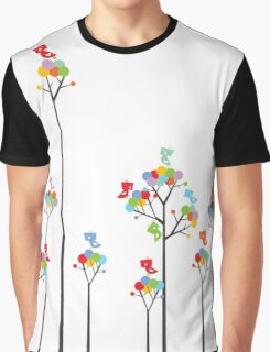 Colorful Tweet Birds On Dotted Trees With Dark Branches Graphic T-Shirt
