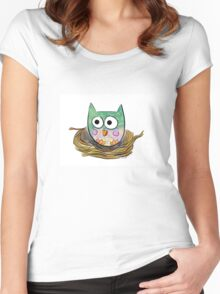 Owl in Nest Women's Fitted Scoop T-Shirt
