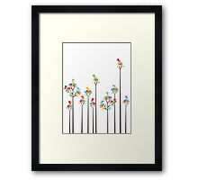 Colorful Tweet Birds On Dotted Trees With Dark Branches Framed Print