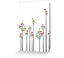 Colorful Tweet Birds On Dotted Trees With Dark Branches Greeting Card