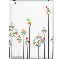 Colorful Tweet Birds On Dotted Trees With Dark Branches iPad Case/Skin