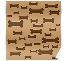Dog biscuits on brown Poster