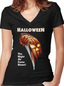 HALLOWEEN - The Night He Came Home! Women's Fitted V-Neck T-Shirt