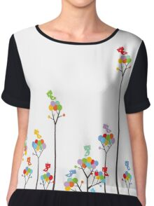 Colorful Tweet Birds On Dotted Trees With Dark Branches Chiffon Top