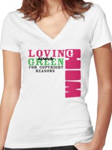 Loving Him Was Green (White Background Only) Women's Fitted V-Neck T-Shirt