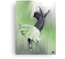 Les Pointes, Lil Grey in Green Canvas Print