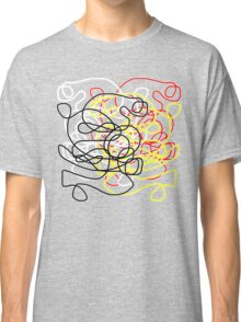 Abstract scribbles in red, black, white, yellow Classic T-Shirt