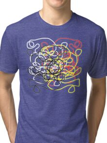 Abstract scribbles in red, black, white, yellow Tri-blend T-Shirt