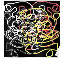 Abstract scribbles in red, black, white, yellow Poster
