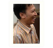 man laughing expression Art Print
