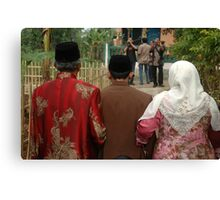 groom and his big family Canvas Print