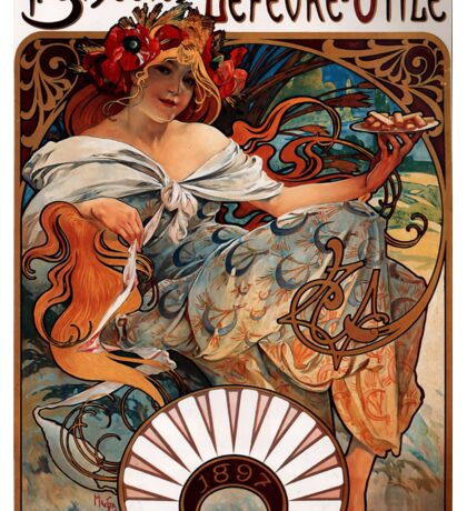 'Biscuits Lefevre-Utile' by Alphonse Mucha (Reproduction) Sticker