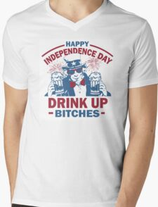 4th of July Tank Top - Drink Up Bitches Mens V-Neck T-Shirt