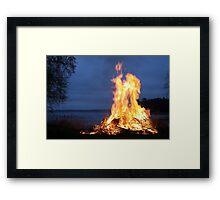 BONFIRE AT NIGHT Framed Print