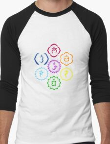 The 7 Main Chakras in a Circle Men's Baseball ¾ T-Shirt