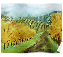 Oregon Vineyard Acrylic Painting Poster