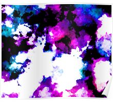 blue and purple watercolor Poster