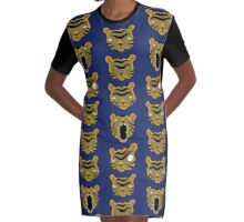 Tiger Buttons Graphic T-Shirt Dress