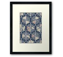 Organic Hexagon Pattern in Soft Navy & Cream  Framed Print