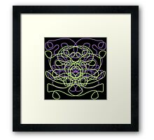 Abstract in black, green, lavender Framed Print