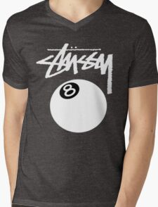 STUSSY World Tour Warp Crew logo Mens V-Neck T-Shirt