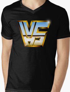 VHS-WWF style logo Mens V-Neck T-Shirt