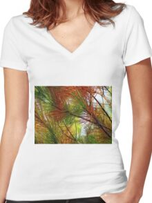 pine brush Women's Fitted V-Neck T-Shirt