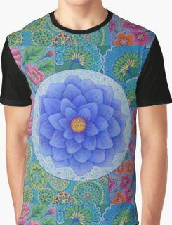 Blue Flower Mandala  Graphic T-Shirt