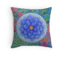 Blue Flower Mandala  Throw Pillow