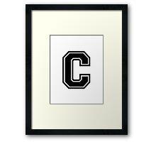 """Letter """"C""""  - Varsity / Collegiate Font - Black Print Framed Print"""