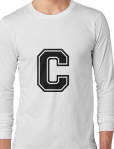 """Letter """"C""""  - Varsity / Collegiate Font - Black Print Long Sleeve T-Shirt"""