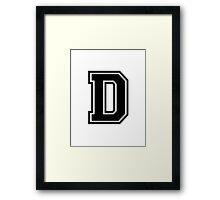 """Letter """"D""""  - Varsity / Collegiate Font - Black Print Framed Print"""