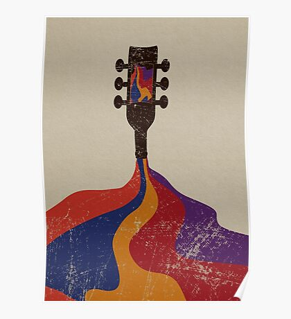 Guitar Half Full of Wine Poster