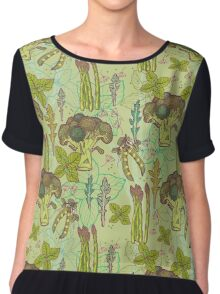 Green vegetables pattern. Chiffon Top